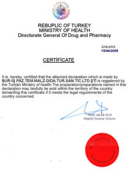 Bur-İş Sağlık Bakanlığı Üretim Sertifikası