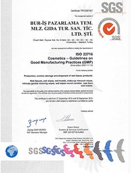 Bur-İş İso 22716 ıslak mendil üretim sertifikası